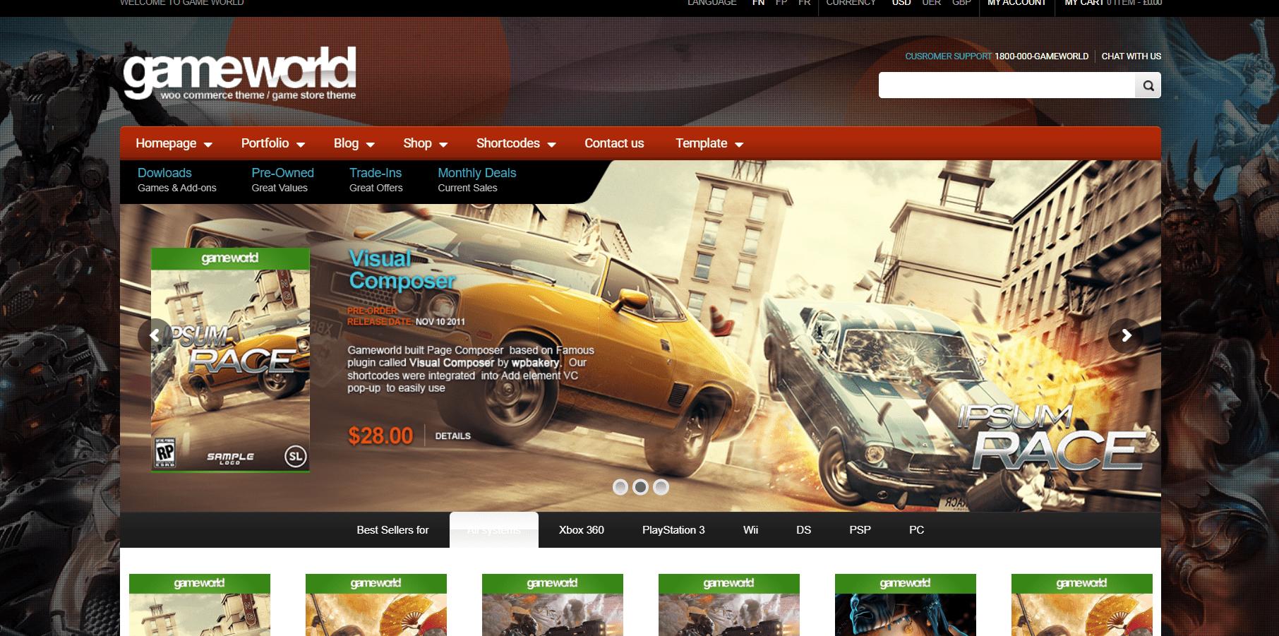 GameWorld WooCommerce Game Theme